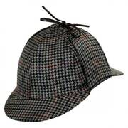 Wool and Cashmere Houndstooth Sherlock Holmes Hat (Gray)