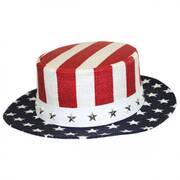 USA Flag Toyo Straw Boater Hat - Stripe Crown