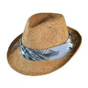 Plaid Hatband Straw Fedora Hat - Kids