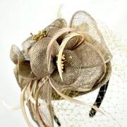 Flower and Veil Fascinator Headband