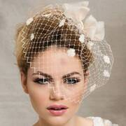 Bow and Pom Veil Comb Fascinator