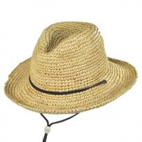 Toddler's Raffia Chincord Fedora Hat