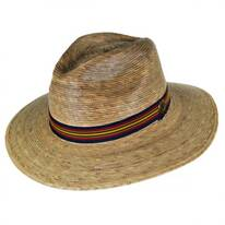Striped Band Explorer Palm Straw Fedora Hat