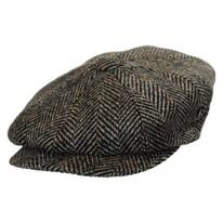 Large Herringbone Donegal Tweed Wool Newsboy Cap - Olive Green