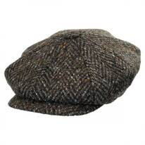 Large Herringbone Donegal Tweed Wool Newsboy Cap - Charcoal/Olive