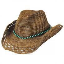 Bead Band Raffia Straw Western Hat