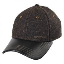 Wool and Leather Strapback Baseball Cap