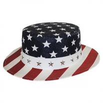 USA Flag Toyo Straw Boater Hat - Star Crown