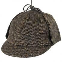 Herringbone Donegal Tweed Wool Sherlock Holmes Deerstalker Hat