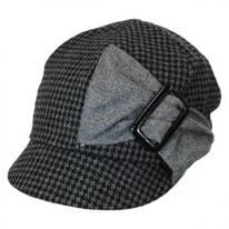 Karly Buckle Bow Houndstooth Poly Newsy Cap