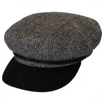 Herringbone Tweed Wool Blend Fiddler Cap