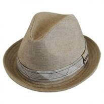Plaid Band Linen Trilby Fedora Hat