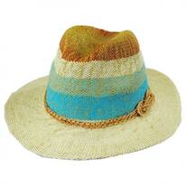 Striped Toyo Straw Floppy Fedora Hat