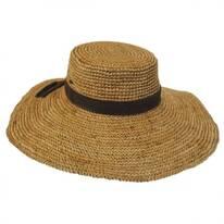 Organic Raffia Straw Wide Brim Boater Hat