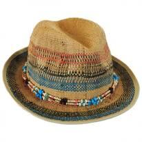 Stripes and Beads Raffia Straw Fedora Hat