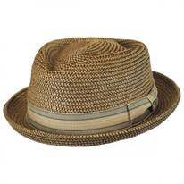 Tweed Toyo Straw Diamond Crown Fedora Hat