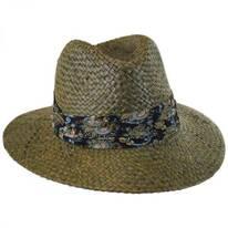 Printed Band Straw Safari Fedora Hat