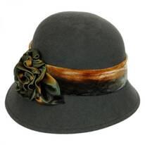 Silk Swirl Rose Wool Cloche Hat