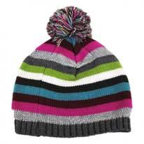 Striped Knit Pom Beanie Hat