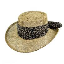 Twisted Seagrass Gambler Hat with Leopard Scarf