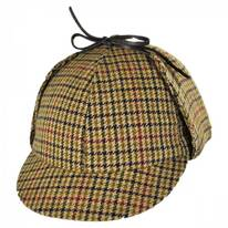 Checkered British Wool Sherlock Holmes Deerstalker Hat