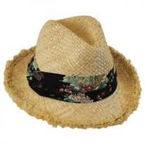 Country Floral Band Straw Fedora Hat