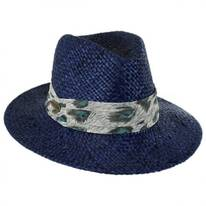 Printed Band Straw Safari Fedora Hat