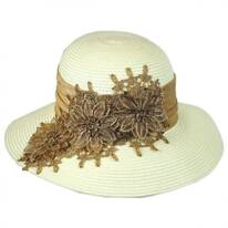 Embroidered Straw Cloche Hat