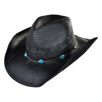 Western Straw Hat w/ Turquoise Nuggets