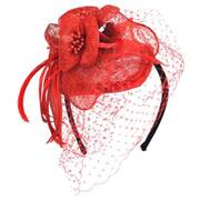 Flower and Veil Straw Fascinator Headband