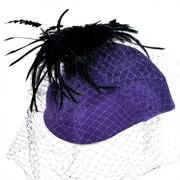 Feather and Veil Wool Felt Pillbox Hat