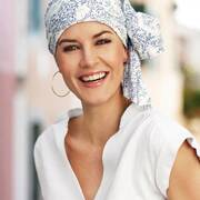 Basic Long Crinkled Cotton Blue Flowers Turban