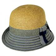 Striped Brim Toyo Straw Cloche Hat