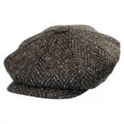 Large Herringbone Donegal Tweed Wool Newsboy Cap - Charcoal/Olive