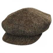 Herringbone Donegal Tweed Wool Baker Boy Cap