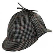 Houndstooth Wool and Cashmere Sherlock Holmes Deerstalker Hat