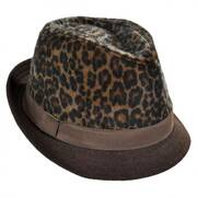 Leopard Crown Faux Fur Fedora Hat