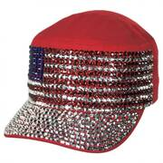 USA Flag Studded Cotton Cadet Cap