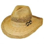 Coco Wood Rings Raffia Straw Western Hat