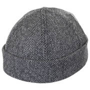 Six Panel Herringbone Wool Skull Cap Beanie