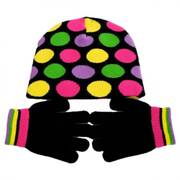 Kids' Dot Knit Beanie and Gloves Set