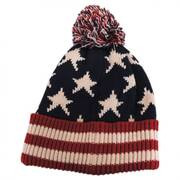 US Flag Knit Pom Beanie Hat