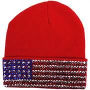USA Flag Stud Knit Beanie Hat
