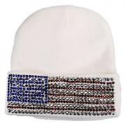 USA Flag Stud Knit Beanie Hat