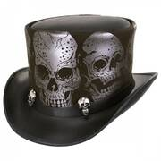 Silver Skull Leather Top Hat