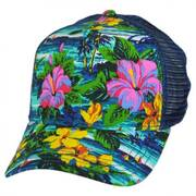 Azul Floral Trucker Snapback Baseball Cap