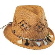 Tassels Raffia Straw Trilby Fedora Hat