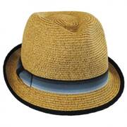 Striped Band Toyo Straw Trilby Fedora Hat