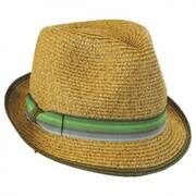 Striped Band Toyo Straw Trilby Fedora Hat