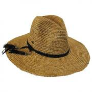 Braided Leather Band Organic Raffia Straw Fedora Hat